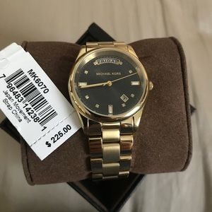 NEW Michael Kors Black Dial Gold Plated Watch